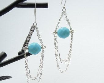 Aqua Turquoise Gemstone Earrings, Sterling Silver, Glass