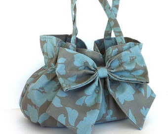 summer bow bag  Floral cotton purse Women fashion  Handbag with bow Gift for her Girls purse  Fabric bag Women handmade handbag