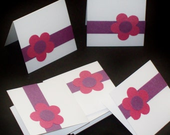 Metallic Floral, mini folded notes, set of 12 small enclosure cards