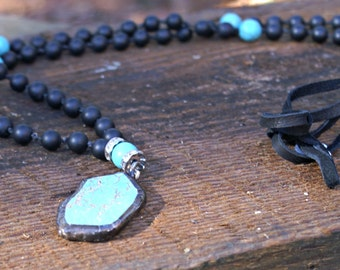 Hot mama-Black matte hand knotted beaded boho chic necklace with solder pendant
