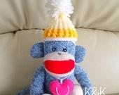 Sock Monkey Doll Boy #94 - Red Heel Sock Monkey, Plush Doll, Toy, Puppet, Blue, Valentine, Birthday, Gift,  K&K