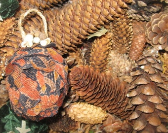 CORDUROY Fabric PiNE CONE hanging FoReST ornament