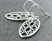 Small Silver Earrings Dangle Silver Earrings Everyday Oval Earrings Bohemian Jewelry Gift for Her Modern Edge