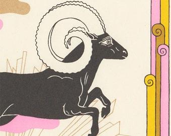 aries astrology silkscreen horoscope art