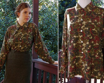 PAISLEY 1940's 50's Vintage Dark Olive Green + Burgundy Rayon Blouse // size Large // by WM Stevens Farmers Market Los Angeles