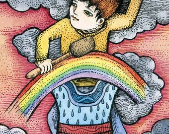 "PRINT of artist trading card  ""Spectradrum"" by Poxodd ~ ACEO,  ATC, music, fantasy instrument, guy playing rainbow drum, rain, clouds"