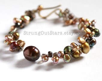 Strung-Out guitar string bracelet with freshwater pearls