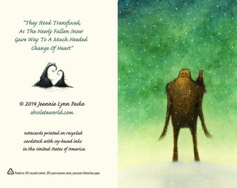 Set Of Twelve Sasquatch And Bird Fine Art Holiday Note Cards