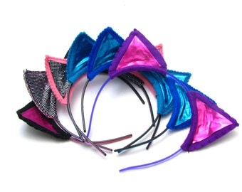 Glittery Felt Kitty Ears - Your Choice Of Color - Shiny Hologram Cat Ear Headbands, Pinable Hair Accessories - Pink Blue Grey Black White