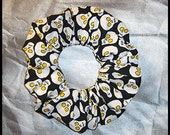Halloween Hair Scrunchie, Holiday Fabric Hair Tie, Ponytail Holder , Creepy Skulls