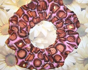 Chocolate Bon Bons Hair Scrunchie, Hair Tie, Fabric Ponytail Holder