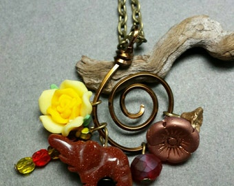 Vintage India Inspired Elephant and Flower Charm Cluster Necklace in Golden Bronze, Red, Orange, Yellow and Antiqued Brass