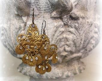 perimeter vintage assemblage earrings . 1930s gold fleur de lis filigrees + tiny coin fRinge + tiny rhinestones