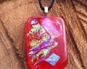 Orange Fused Glass Dichroic Pendant With Black Silk Necklace