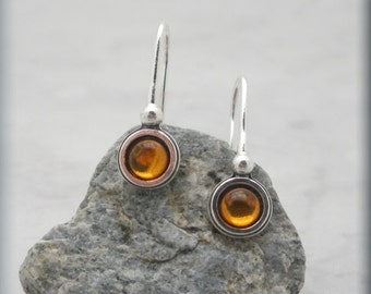 Amber Earrings, Cabochon Earrings, Amber Jewelry, Sterling Silver, Golden Stone (SE607)