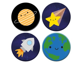 Kawaii Planets in Space - Solar System Badge Set