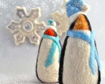 Needle Felting Kit, DIY gift, Craft Kit, Winter Penguin, wool ornament, White, blue, holiday decor, felt tree ornament, beginner, how to