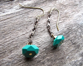 Geometric bead Earrings, Teal Beaded Dangles,  Brass Chain Strand Earrings, Teal Bead and Square Link Chain Simple Short Earrings