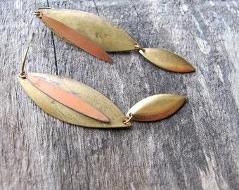 Layered Brass Earrings - Metal Dangle Earrings - Dagger Earrings - Long Vintage Bronze and Brass Earrings