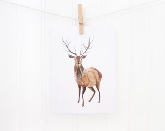 Deer Holiday Card - Greeting Card - Blank Inside with Matching Envelope