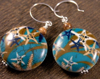 Starfish or sea stars printed stone large beads, fossilized dinosaur bone handmade earrings