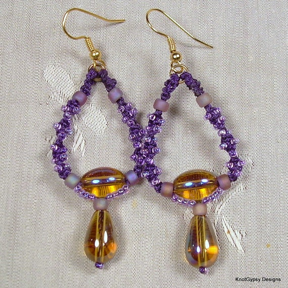 macrame hoops items similar to micro macrame earrings spiral hoops w 9987