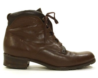 Italian Lace Up Ankle Boots / Brown Leather / Women's Size 7