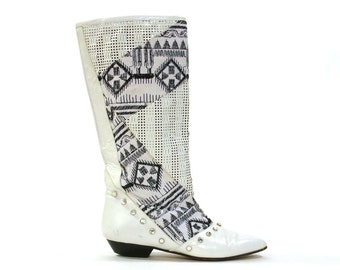 Woven Leather & Embroidered Fabric Boots with Rhinestones / Vintage 1980s Art To Wear / Women's Size 7