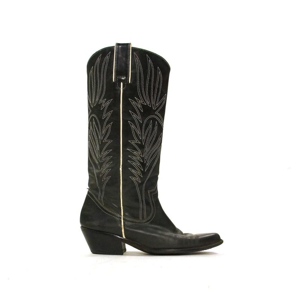 vintage cowboy boots charcoal grey s sz 7 5