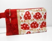 Red Wristlet with Beaded Zipper Pull Mushroom