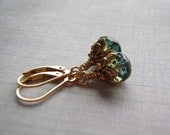 Blue Green Earrings 14k Gold Filled Lever Back Ear Wire 9 x 6 mm Glass Dangle Gift Boxed