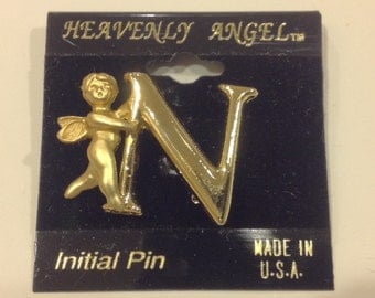 Vintage oldstock Goldtone heavenly angel  guardian angel   N initial pin