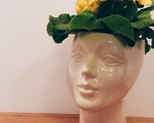 Handmade Ceramic Female Head Planter. Perfect for home or retail space. Use as Unique Planter or Vase. Vintage mold with modern color.
