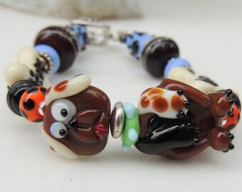 DOG LADY Handmade Lampwork Bead Bracelet