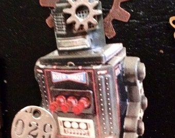 Robot jewelry gears brooch steampunk, cyber punk silver number tag gears kitsch handmade Christmas gift for her