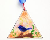 blue bird Christmas ornament handcrafted unique enamel ornament, blue bird of happiness housewarming gift, stocking stuffer or hostess gift