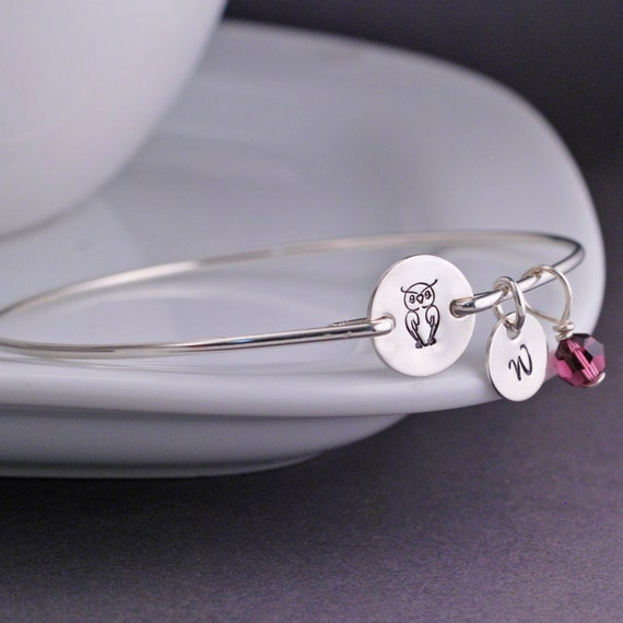 Owl Jewelry, Owl Bangle Bracelet, Sterling Silver Personalized Hand Stamped Bracelet, Chi Omega Jewelry