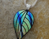 Fall Jewelry, Contemporary Autumn Leaf,  Blue, Green and Gold Leaf Pendant, Dichroic Fused Glass Pendant, Etched Fall Leaf Pendant