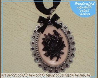 Black Rose Cameo art deco Neo-Victorian steampunk inspired black diamond velvet choker necklace