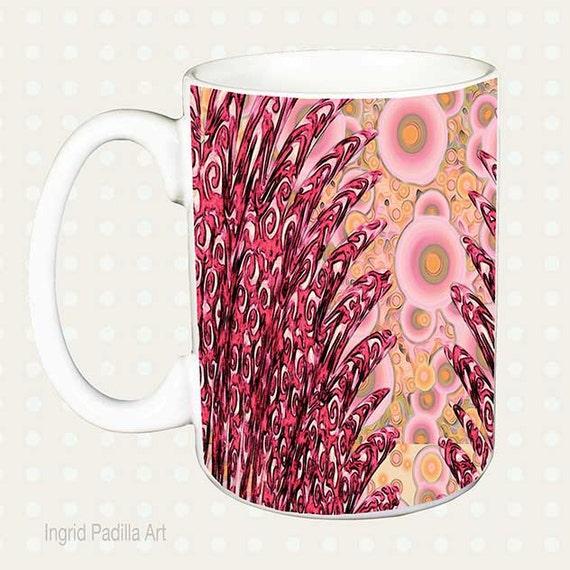 Art Mug, Pink, Mug, feathers, Unique Mugs, Coffee Mug, Funky, coffee cup, Abstract, Art, Ingrid Padilla