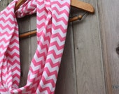 Pink & White Chevron Jersey Knit Infinity Scarf