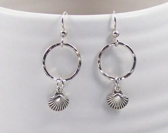 Silver Sea Shell Dangle Earrings