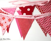 Pink and Red Valentines Bunting party decoration. Fabric sewn flag Banner. Photo prop. 12 Pennant flags