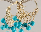 Reserved - 50% OFF - Turquoise Apatite Bohemian Chandelier Earrings