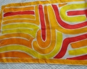 Vintage 70s Vera Neumann Rectangle Bright Silk Scarf Hand Rolled Japan