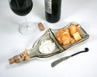 Clear Wine Bottle XL Chip and Dip Snack Bowl with Cork and Raffia and Spreader - Recycled Eco-Friendly