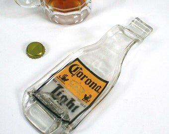 Corona Light Beer Bottle Spoon Rest or Snack Server - Recycled Eco-Friendly