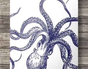 Nautical octopus kraken print - navy blue coastal art  - Printable wall art