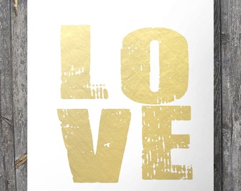 Faux gold foil LOVE print  - Printable wall art decor print (Instant download) A3/A4 size