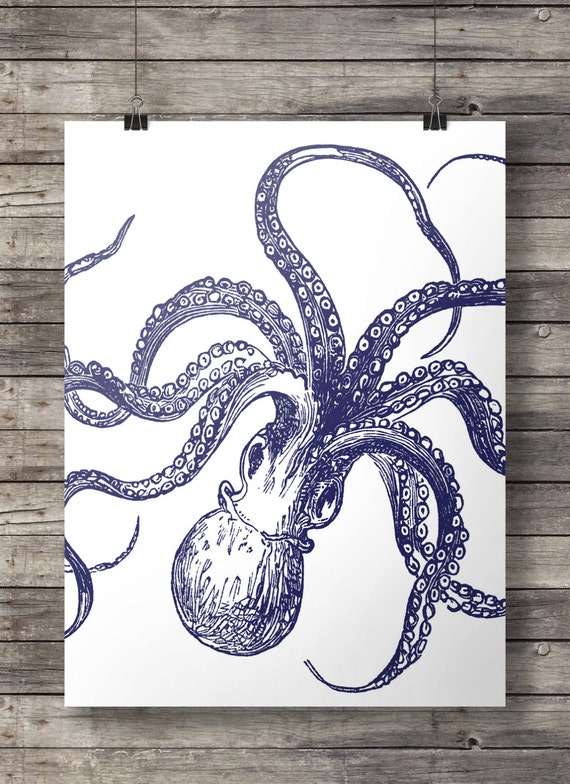 nautical octopus kraken print navy blue coastal art. Black Bedroom Furniture Sets. Home Design Ideas